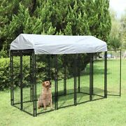 Outdoor Dog Kennel Steel Wire Cage Pet Pen Sun Cover Shade Run House Shelter Hot