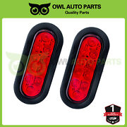 New Trailer Truck 10 Led Sealed Red 6 Oval Stop/turn/tail Lights Waterproof Set