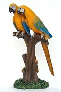 3' Tall Blue And Gold Macaw Parrot Lovers Resin Statue Zoo Prop Display Figurine