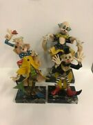 Vintage Fontanini Depose Clowns With Marble Baseand039s Lot Of 4