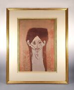 Sylvia Wald 1915-2011 Beginning Face Signed Screen Print In Four Colors 1950
