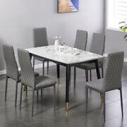 Set Of 6 Leather Dining Chairs Set With Upholstered Cushion High Back Metal Legs