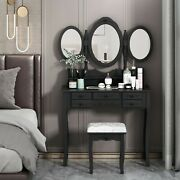 Makeup Vanity Table Set 7 Drawers 3 Mirrors Dressing Desk Vanity Set W/stool