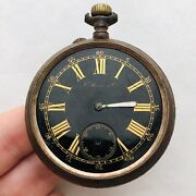 Rare Henry Hy Moser Pocket Watch Black Military Wwi Army Swiss Repair Old Vtg