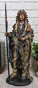 Native American Indian Warrior Chief With Battle Headdress Statue Heritage Decor