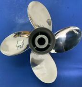 Signature 4 Blade 14 X 17p , 4 Inch Exhaust Tube, Stainless Steel Boat Propeller