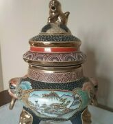 Large Antique Japanese 18th Century Footed 12 Tall X 8 1/2 Vase Urn W/rings