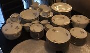 Hutschenreuther Selb Bavaria Germany Gray Rose China. Service For 12 + Extras.