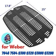 2pc Bbq Grill Cooking Grid Grate Parts For Weber Q300 Q320 Q3000 Q3200 25x17.8