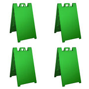 Plasticade Signicade Portable Folding Sidewalk Double Sided Sign Green 4 Pack