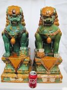 Pair Of Vintage Chinese Green Glaze Clay Foo Lion. Foo Dog. Large 21535mm High