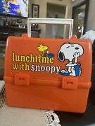 Vintage 1965 Peanuts Lunch Box Snoopy And Woodstock Thermos Co. With Thermos