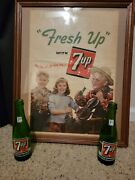 1940s 7up Advertising Poster With 2 Bottles