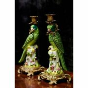 Antique 1895s French Pair Wong Lee Parrot Gilt Bronze Porcelain Candle Holders