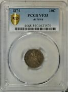 1874 Seated Dime Arrows Pcgs Vf35