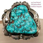 Antique Red Spiderweb Candelaria Turquoise Bracelet Old Pawn Sterling Silver A+