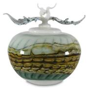Opal White Covered Sphere With Finial Hand-blown