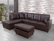 Sale Modern Brown Sectional W/ Faux Leather Storage Ottoman And 2 Accent Pillows