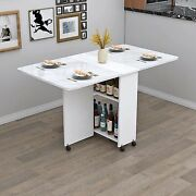 Eco-friendly Wooden Folding Dining Table With Wheels Living Room Kitchen Table