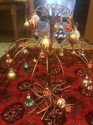 Copper Wire Sculpture Tree Twisted Roots With Antique Glass 30 Ornaments