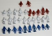 Vintage 1960and039s Marx Mpc Lot Of 32 Plastic Space Men Astronaut Figures Red Blue