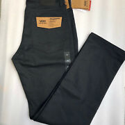 Nwt Men's Size 32x32 Black Flat Front Authentic Chino Casual Pants V56