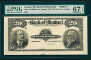 Canada 🇨🇦 1911 - 20 Bank Of Montreal Proof Pmg 67 Epq Top Pop Unc - Only 1