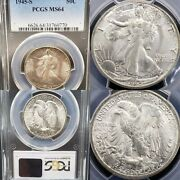 Very Nice 1945-s Walking Liberty 50c Half Dollar Pcgs Ms64 Fifty Cent Kve Invest