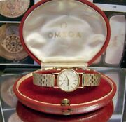 1961 Vintage Swiss Omega Solid 18 Ct Gold Watch And 9 Ct Gold Band + Box Serviced