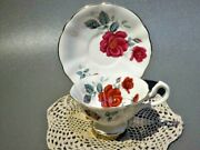 Excellent Queen Anne Wide Mouth Vivid Red Cabbage Roses Tea Cup And Saucer