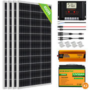 100w 200w 400w Solar Panel Complete Kit With Inverter Lifepo4 Battery For Rv