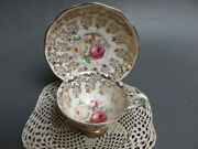 Royal Albert 2791 Gold Tendrils Chintz Red White Cabbage Roses Cup And Sauce