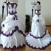 White And Purple Gothic Wedding Dresses Strapless Beaded Ruched Flower Ball Gown