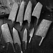 9pcs High Carbon Damascus Steel Handmade Diy Blade Blank Without Handle Knife