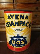 Vintage Mexican Quaker Oats Oatmeal Tin Can Avena Relampago From 50's Rare Htf