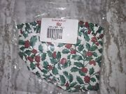 Longaberger Large Berry Basket Liner Christmas Holly Fabric Mint Free Shipping