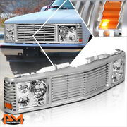For 94-00 Chevy Gmc C/k C10 Yukon Tahoe Silver Front Bumper Grille+headlight Set