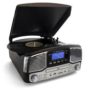Refurbished Trexonic Retro Wireless Bluetooth, Record And Cd Player In Black