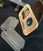 Air Force Original Dog Tags And Photograph Name Badge-f.s. Cantrell World War 2
