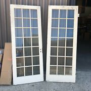 Gorgeous Vintage Pair French Doors 78andrdquo X 30andrdquo Old Wavy Glass 21 Panes 7.5/9andrdquo