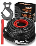 All-top Synthetic Winch Rope Cable Kit 9/16 X 76 Ft 35000lbs Winch Line With..