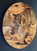 Amazing Tiger Art Mid Century Wood Marquetry. Different Woods Create Colors