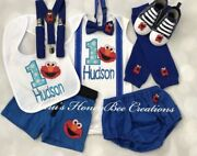 3-pc Personalised Elmo Birthday Outfit,personalised Top,bottom,bow Tie