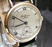 Antique Vintage 1951 J W Benson Tropical Dial Rare Solid Gold Watch Serviced