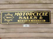 New 1950's-60's Style Bsa Motorcycle Dealer/service/parts Sign/ad Garage Art