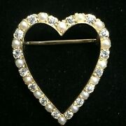 Antique And Co. 0.72ct G/vvs118k Diamond Pearl Heart Brooch With Box 5.5gm