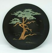 1966 Couroc Of Monterey Cypress Tree Inlaid Wood Tray Round 14 Signed Morse