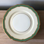 Lovely Set Of 10 Rosenthal Ivory Coronation Green And Gold Encrusted Plates