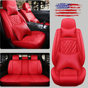 Red Leather 5-seats Car Suv Seat Cover Auto Accessories Interior Update Full Set