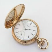 .c 1889 Elgin Solid 14k Gold 40.5mm 6s Pocket Watch With Engraved Case